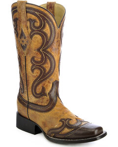 Corral Overlay Cowgirl Boots - Square Toe, , hi-res