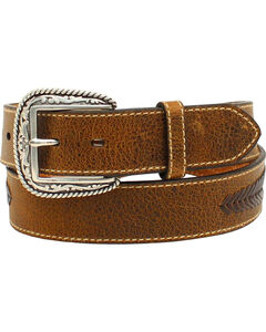 Ariat Men's Distressed Leather Lace Concho Belt, , hi-res