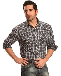 Crazy Cowboy Men's Black Plaid Western Shirt , , hi-res