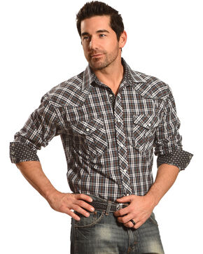 Crazy Cowboy Men's Black Plaid Western Shirt , Plaid, hi-res