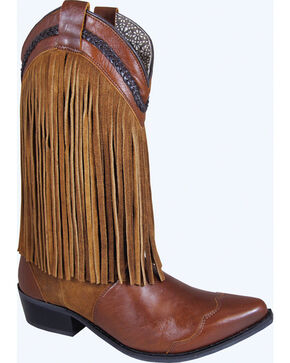 Smoky Mountain Rosie Fringe Cowgirl Boots - Snip Toe, Brown, hi-res