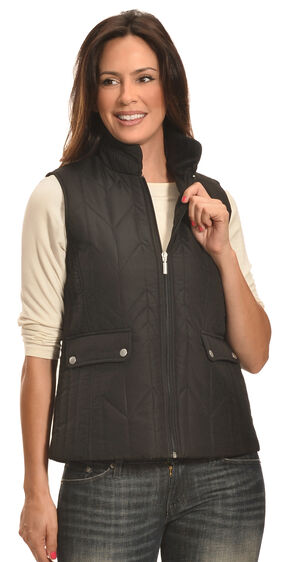 Jane Ashley Women's Black Zig Zag Snap Vest , Black, hi-res