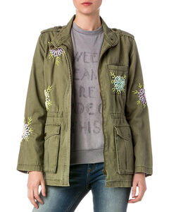 Miss Me Women's Olive Military Embroidered Jacket , , hi-res