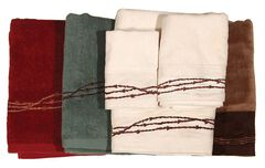 HiEnd Accents Three-Piece Embroidered Barbed Wire Bath Towel Set - Red, , hi-res