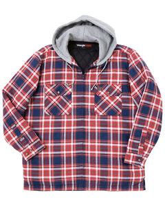 Wrangler Men's Plaid Hooded Quilted Flannel Jacket, , hi-res