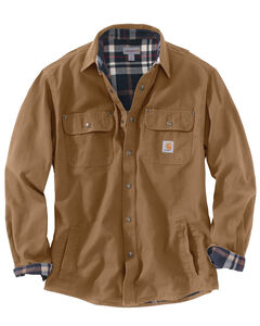 Carhartt Weathered Canvas Shirt Jacket, Brown, hi-res