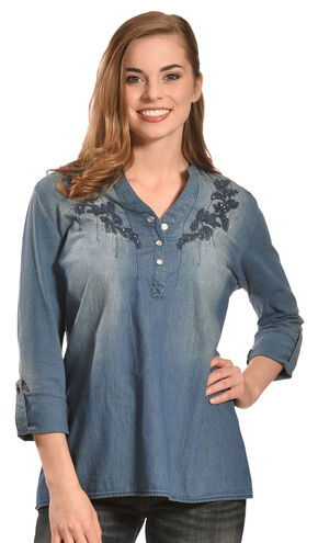 Tantrums Women's Denim Embroidered Top, Indigo, hi-res