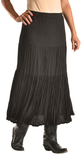"Pink Cattlelac Women's Black Crinkle Skirt - 36"" , Black, hi-res"
