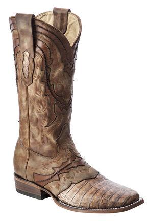 Corral Caiman Cowboy Boots - Square Toe, Tan, hi-res