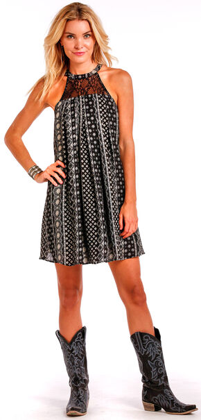 Panhandle Slim Women's Black Print Halter Dress, Black, hi-res