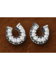 Kelly Herd Sterling Silver Tiny Rhinestone Horseshoe Earrings, , hi-res