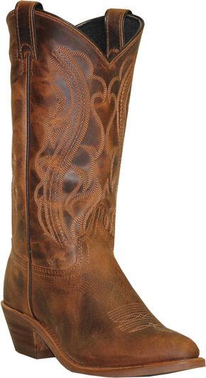 Abilene Sage Distressed Brown Cowboy Boots - Round Toe, Dark Brown, hi-res