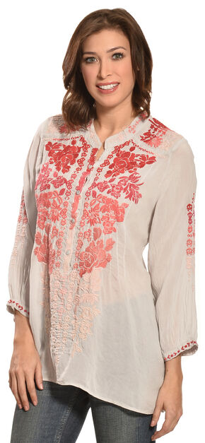 Johnny Was Women's Blooming Ombre Blouse, Frost, hi-res