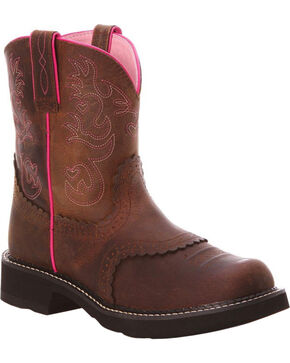 Ariat Driftwood Brown Saddle FatBaby Cowgirl Boots - Round Toe , Driftwood, hi-res