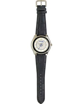 Monatana Silversmiths Filigree Leather Band Watch, Black, hi-res