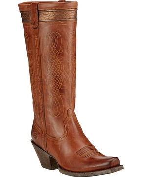 Ariat Trinity Western Riding Boots - Square Toe , Tan, hi-res