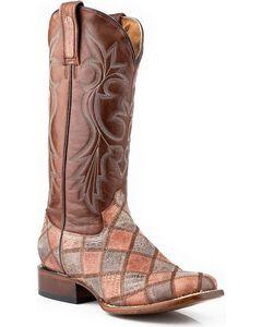 Roper Faux Teju Lizard Patchwork Cowgirl Boots - Square Toe, , hi-res