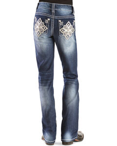 Red Ranch Girls' Embroidered Rhinestone Cross Stitch Bootcut Jeans - 4-6X, , hi-res