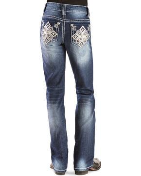 Red Ranch Girls' Embroidered Rhinestone Cross Stitch Bootcut Jeans - 4-6X, Denim, hi-res