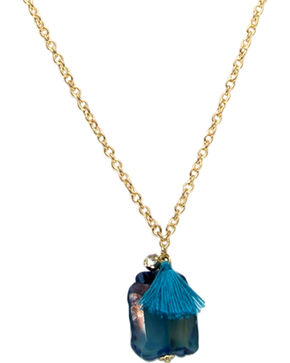 Ethel & Myrtle Teal Stone Necklace , Teal, hi-res