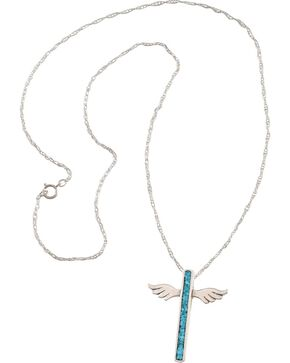 Silver Legend Sterling Silver & Turquoise Wing Cross Necklace, Silver, hi-res