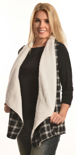 Derek Heart Women's Black Plaid Sherpa Lined Waterfall Vest, Black, hi-res