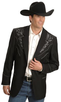 Scully Grey Floral Embroidery Black Western Jacket, , hi-res