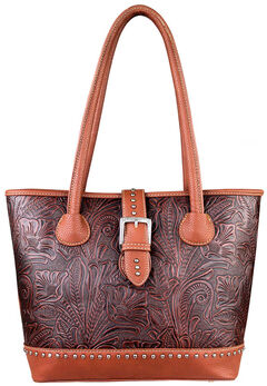Montana West Trinity Ranch Tooled Design Concealed Handgun Collection Handbag, , hi-res