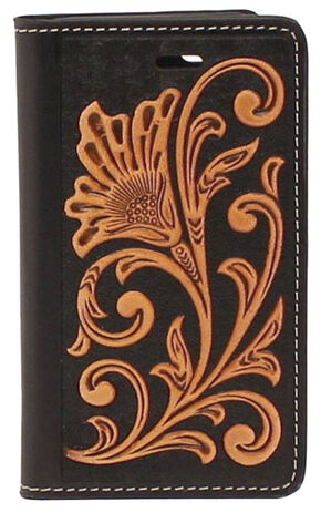 Nocona Leather Floral Scroll iPhone 5 and 5S Case Wallet, Black, hi-res