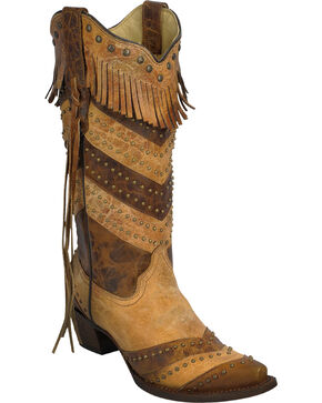 Corral Women's Stripes and Fringe Cowgirl Boots - Snip Toe, Antique Saddle, hi-res
