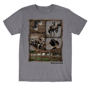 Wrangler Boys' Rodeo Snapshot Short Sleeve T-Shirt, Grey, hi-res