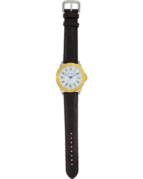 Montana Silversmiths Men's Two Tone Quartered Leather Watch , Silver, hi-res