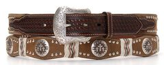 Pro Series Scalloped Cross Concho Leather Belt, , hi-res