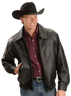 Red Ranch Black Leather Bomber Jacket, , hi-res