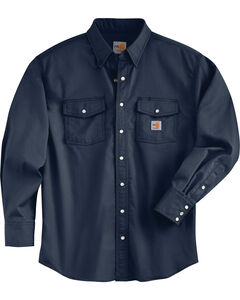 Carhartt Men's Flame Resistant Navy Snap Front Shirt, , hi-res