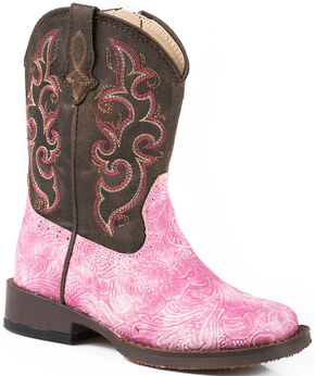 Roper Girls' Toddler Pink Vintage Tooled Cowgirl Boots - Square Toe , Pink, hi-res