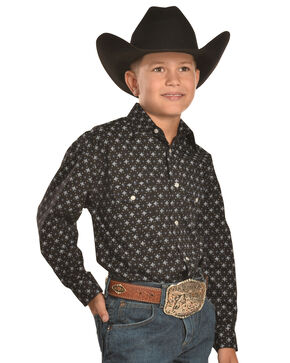 Rough Stock by Panhandle Slim Boys' Black Print Western Snap Shirt, Black, hi-res