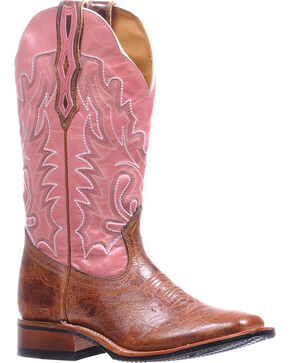 Boulet Pink Stockman Rider Cowgirl Boots - Square Toe , Tan, hi-res