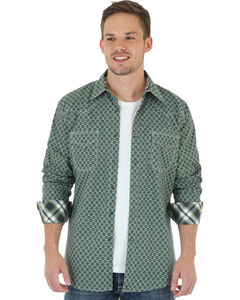 Wrangler 20X Men's Olive & Grey Foulard Print Shirt, , hi-res