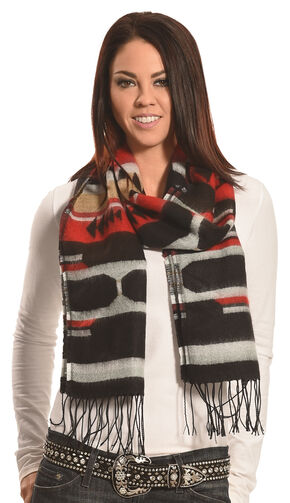 Rapti Fashion Black and Red Cashmere Southwestern Fringe Scarf , Black, hi-res