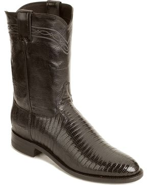 Justin Lizard Roper Cowboy Boots, Black, hi-res