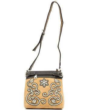 Blazin Roxx Floral Stitch Crossbody Bag, Tan, hi-res
