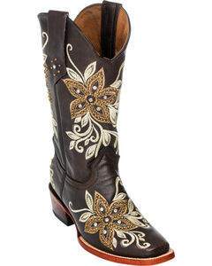 Ferrini Chocolate Star Power Cowgirl Boots - Square Toe, , hi-res