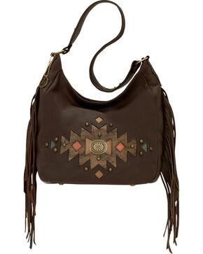 American West Dream Catcher Brown Slouch Fringe Zip Top Shoulder Bag, Chocolate, hi-res