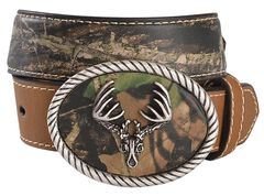 Nocona Camo Deer Skull Buckle Western Belt, , hi-res
