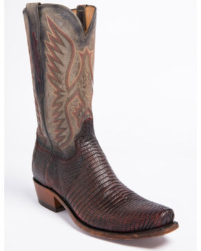 Lucchese Men's Miles Brown Lizard Western Boots - Square Toe, Brown, hi-res