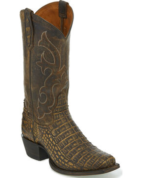 Tony Lama Men's Cafe Hornback Caiman Cowboy Boots - Square Toe, Lt Brown, hi-res
