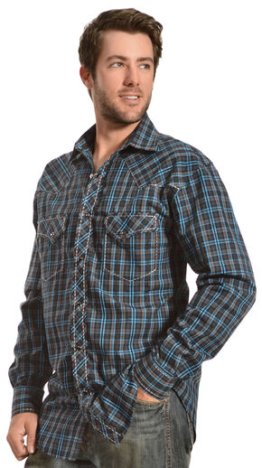 Red Ranch Navy and Teal Plaid Western Shirt, Blue, hi-res