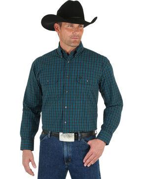 Wrangler George Strait Men's Black & Emerald Plaid Shirt, Green, hi-res