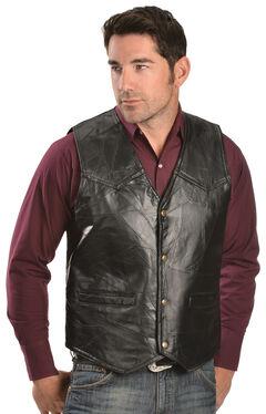 Red Ranch Men's Black Faux Leather Patchwork Vest, , hi-res